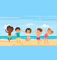 children in swim suits vector image
