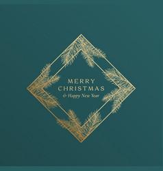 Christmas greetings golden glitter rhombus frame vector