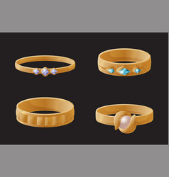 collection of golden engagement rings with pearls vector image