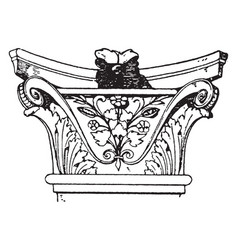 Corinthian pilaster capital pilaster is broader vector