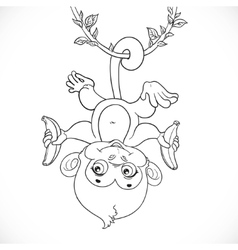 Cute baby monkey with banana hanging on the liana vector