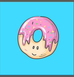 cute donut cartoon character with vector image