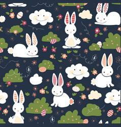 cute easter bunnies seamless kids pattern vector image