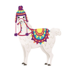 cute llama wearing decorative saddle and hat with vector image