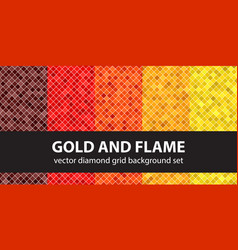 diamond pattern set gold and flame seamless vector image