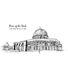 Drawing sketch dome rock vector