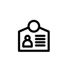 employee identity card icon in outline or line vector image
