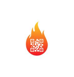 fire barcode logo icon design vector image