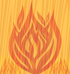 Flames fire on the wooden background vector