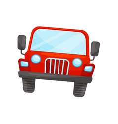 flat icon of bright red jeep front view vector image