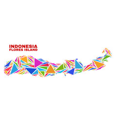 Flores island indonesia map - mosaic color vector