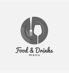 food and drink logo plate fork and wine glass vector image