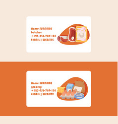 food supermarket business card with meal fish vector image