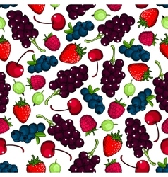 Fresh berries fruits seamless pattern vector image