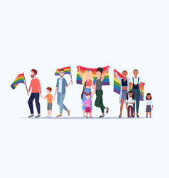 Gays and lesbians with children holding rainbow vector