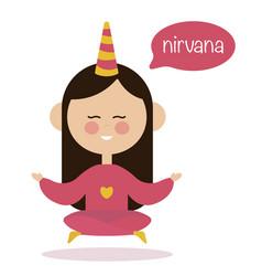 girl meditating in air yoga logo vector image