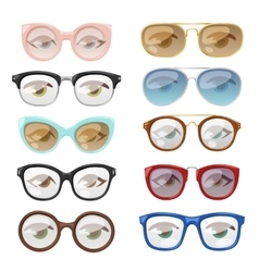 Glasses human eye set vector