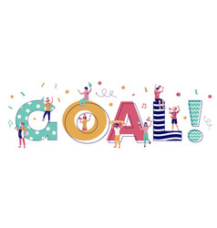 goal typography banner template flat vector image