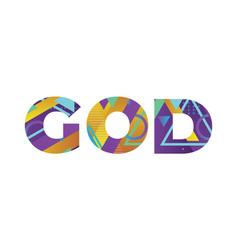 God concept retro colorful word art vector