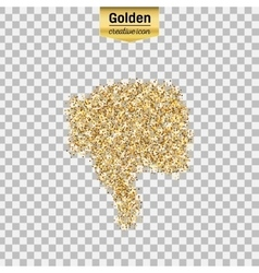 Gold glitter icon of thumbs down isolated vector