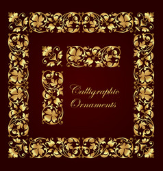 gold ornate calligraphic corner border with frame vector image