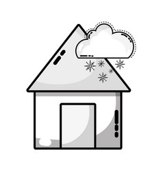 Grayscale house with cloud snowing natural weather vector