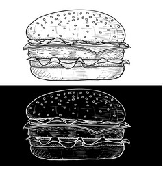 Hamburger black and white hand drawn sketch vector