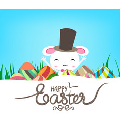 happy easter eggs and bunny banner vector image