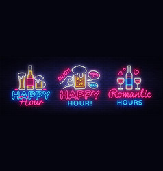 happy hour neon sign collection happy hour vector image