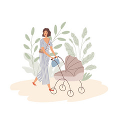 Happy young mom walking with bain pram modern vector
