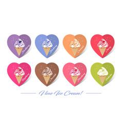 ice creams in waffle cones vector image