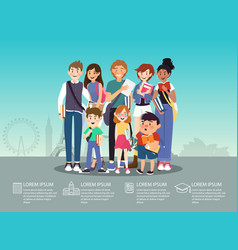 International students group infographic flat vector