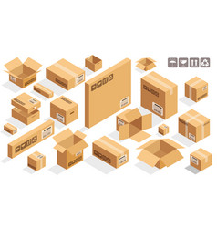 Isometric cardboard brown boxes vector