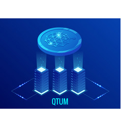 isometric qtum cryptocurrency mining farm vector image