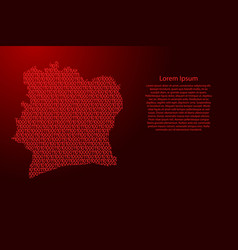 Ivory coast map abstract schematic from red ones vector