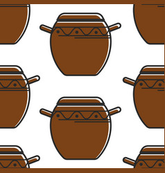 Korean pottery seamless pattern clay saucepan with vector