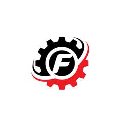 letter f gear logo design template vector image