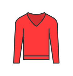 Long sleeve sweater filled color outline editable vector