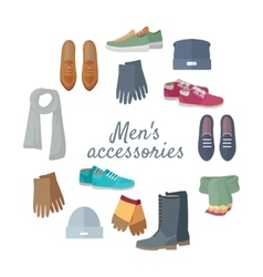 Man s Accessories Concept in Flat Design vector image