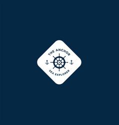 Marine retro emblems logo with anchor rope vector