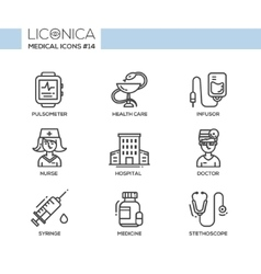 Medicine - thin line design icons pictograms vector
