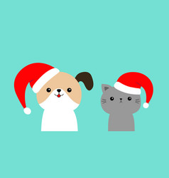 merry christmas cute dog cat face in red santa vector image