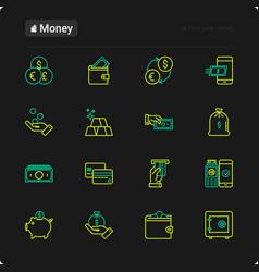 money thin line icons set vector image