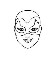 Monochrome contour of female superhero with mask vector