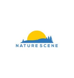 Nature savanna logo design with sunsetsunrise vector