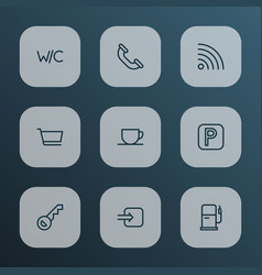 navigation icons line style set with gas station vector image