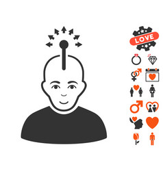 Optical neural interface icon with valentine bonus vector