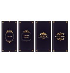 ornate damask cards golden frame wedding card vector image