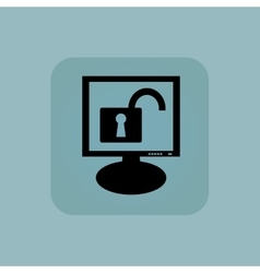 Pale blue unlocked monitor icon vector image