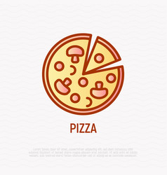 pizza with champignons thin line icon vector image
